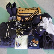 This picture contains just about everything you need to race to Hawaii. And it all fits inside that 50L Helly Hansen bag.